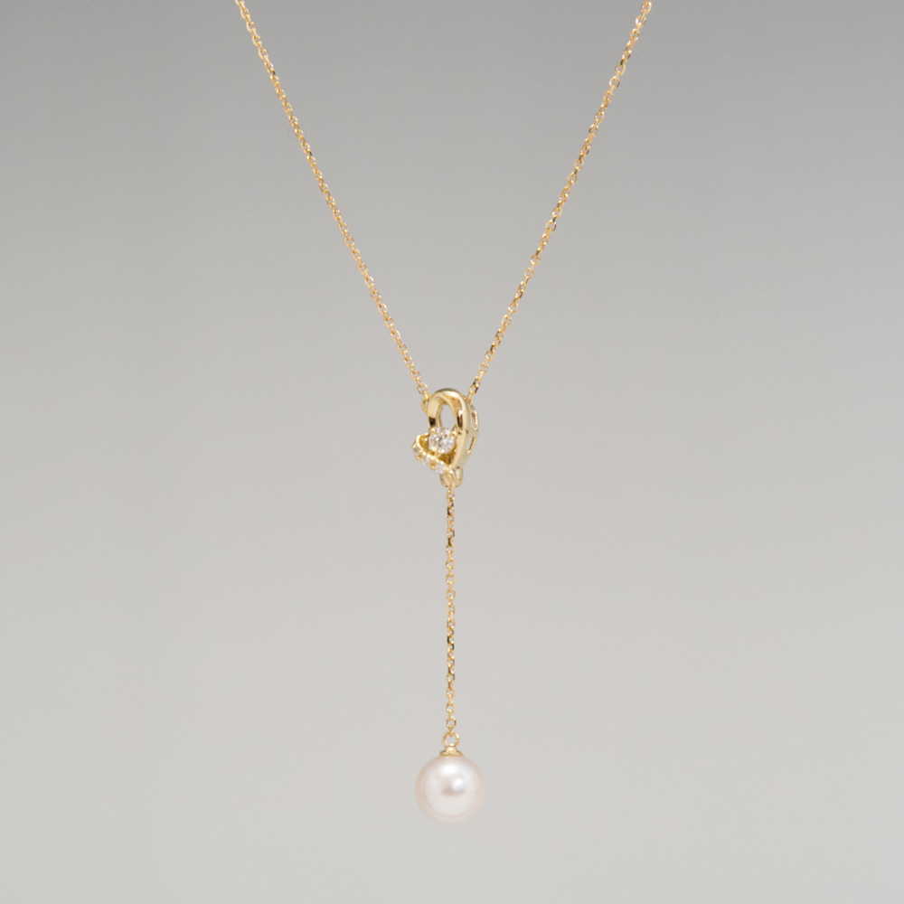 新商品 K18 ダイヤモンドとパールのネックレス